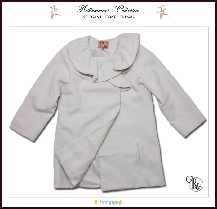 【インポート子供服】ふんわり暖か!フリル襟フォーマルに映える英国テイストのAラインPコート