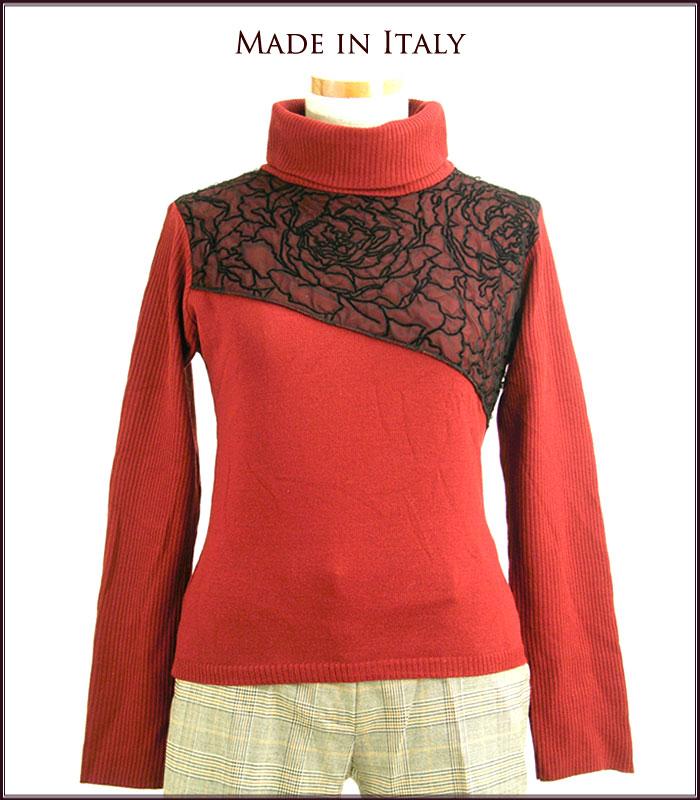 【イタリア製】【レディース服】斜めに切り込み!メッシュ使いウール混ニットセーター