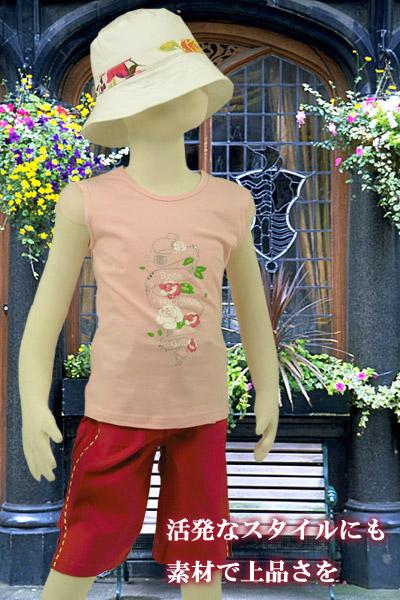 【インポート子供服】オーガンジー袖の涼しげ花柄Tシャツでお嬢様の快適な夏を過ごす。