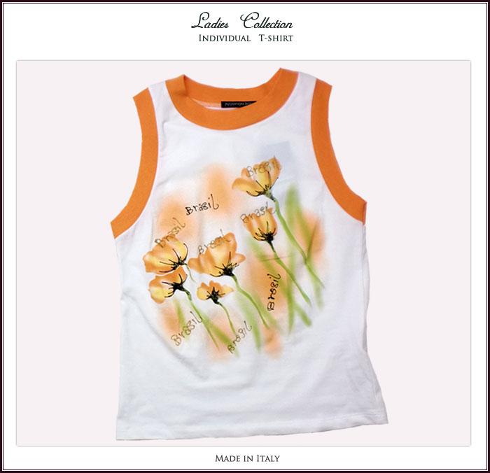 【イタリア製】知的エレガントで魅せる手描き調の鮮やかなお花とラメ入りノースリブTシャツ