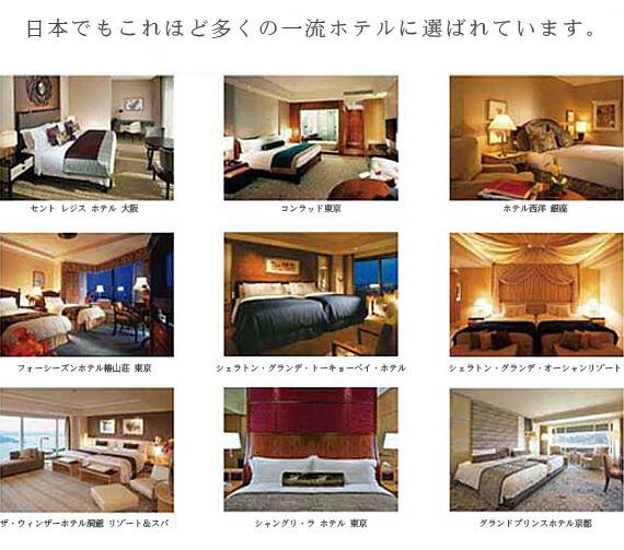 日本でもこれほど多くの一流ホテルにシーリーは選ばれています。セントレジスホテル大阪、コンラッド東京、ホテル西洋 銀座、フォーシーズンホテル椿山荘 東京、シェラトン・グランデ・トーキョーベイ・ホテル、シェラトン・グランデ・オーシャンリゾート、ザ・ウィンザーホテル洞爺 リゾート&スパ、シャングリ・ラ ホテル 東京、グランドプリンスホテル京都