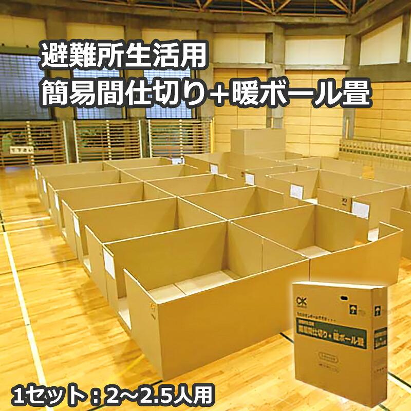 避難所生活用簡易間仕切り+暖ボール畳 DPM(4㎡用/1組)