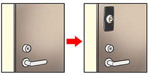 面付錠による1ドア2ロック