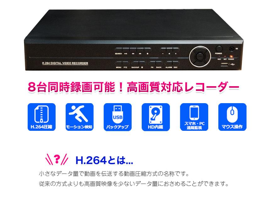 自動上書き、動体検知録画、スケジュール録画機能つき!USBにバックアップ可能!