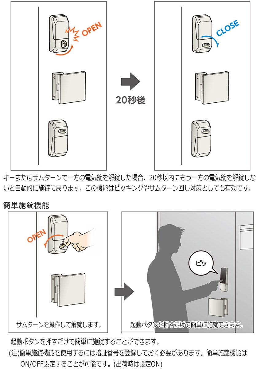 施錠復帰機能(2ロック仕様のみ)・簡単施錠機能