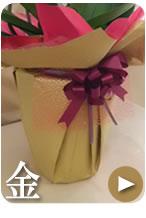 胡蝶蘭のラッピング ゴールド(金)