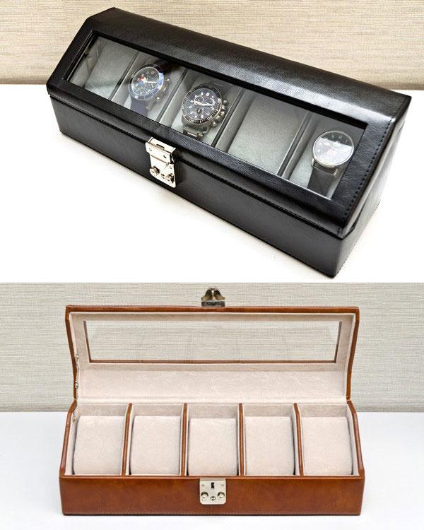 hot sale online 66a91 1cfe2 鍵付 ウォッチケース 5本用 時計収納ボックス 腕時計収納 ...