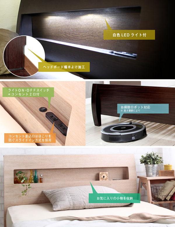 すのこベッド マットレスセット 床下収納 高さ調節4段階 ベッド ポケットコイルマットレス - aimcube画像2