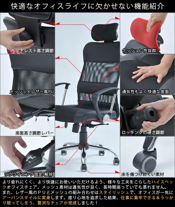 ハイバック メッシュチェア オフィスチェアー デスクチェアー イス キャスター付 ロッキング - エイムキューブ画像3