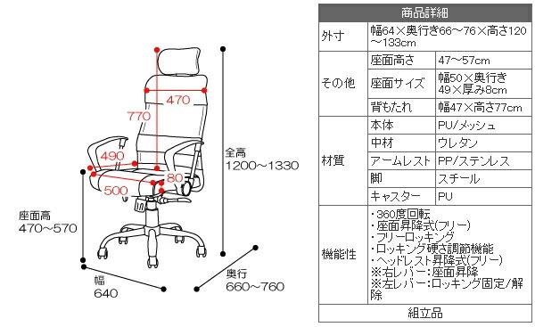 ハイバック メッシュチェア オフィスチェアー デスクチェアー イス キャスター付 ロッキング - エイムキューブ画像5