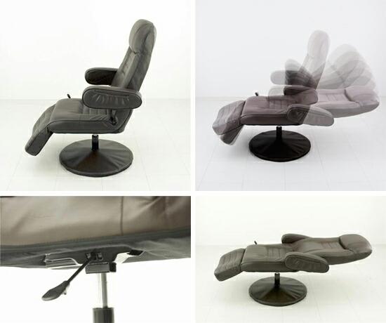 TVチェア フットレスト4段階可動 椅子 休憩チェア 合皮 ネットカフェ テレビ チェア - aimcube画像2