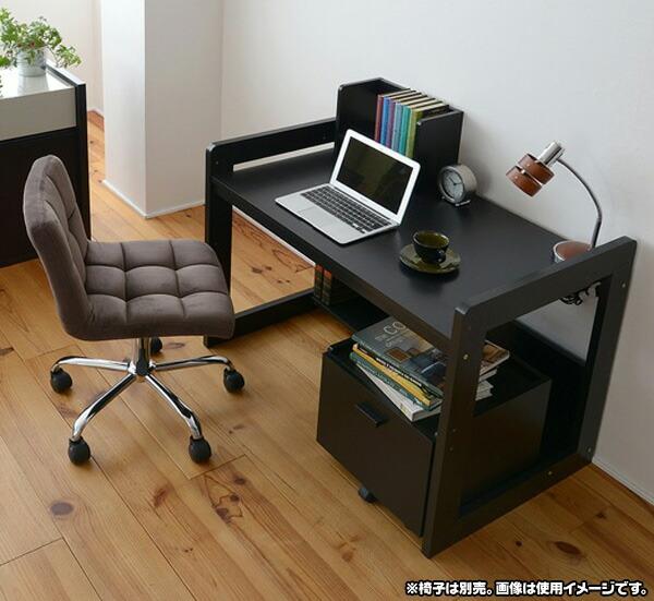 シンプルデスク 作業台 文机 A4ファイル収納可 オープンラック搭載 デスク 収納ワゴン付 - aimcube画像2