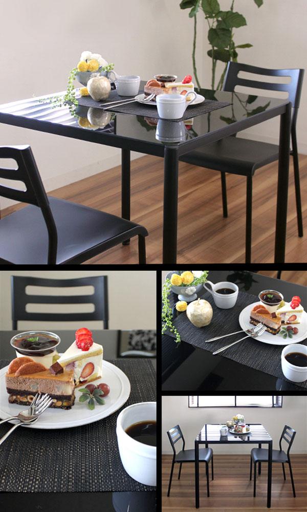 ダイニングセット 2人用 ガラス天板 ダイニングテーブル 椅子2脚 5mm厚強化ガラス天板 - エイムキューブ画像3