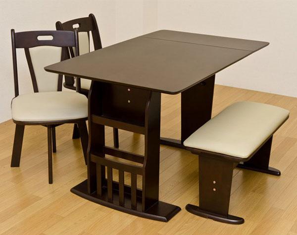 ダイニングテーブル 回転椅子 ベンチチェア 4人用 4点セット ダイニングテーブル 回転チェア2脚 - aimcube画像2