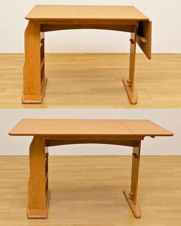 ダイニングセット 食卓 バタフライテーブル ベンチ 回転チェア 2脚 ベンチチェア 四人用 4点セット - エイムキューブ画像3