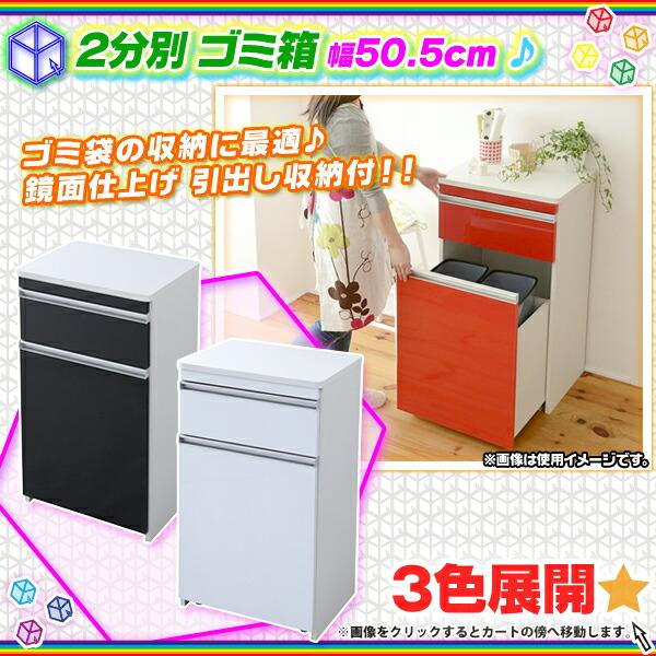 鏡面 ダストボックス 幅50.5cm ゴミ箱 キッチンカウンター 収納付 ゴミ袋 収納 引出し収納 - エイムキューブ画像1