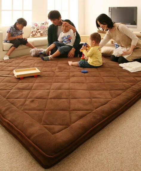 厚さ5cm!マイクロファイバーラグ190×190cm 床暖房対応マット 床暖対応ふかふかカーペット - エイムキューブ画像1