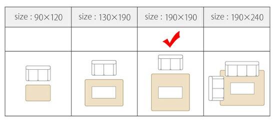 厚さ5cm!マイクロファイバーラグ190×190cm 床暖房対応マット 床暖対応ふかふかカーペット - エイムキューブ画像7