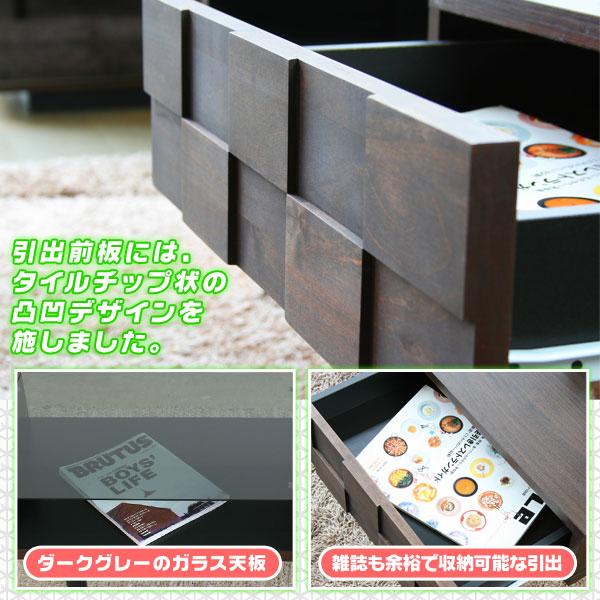 ガラステーブル 完成品 ディスプレイテーブル 引出し収納付 雑誌 収納 テーブル - エイムキューブ画像3