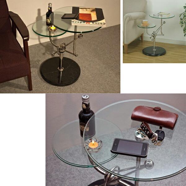 ベッドサイドテーブル ソファサイドテーブル 天然大理石土台 ガラスサイドテーブル 展示台 - aimcube画像2