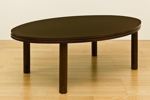 楕円形 テーブル 茶 ブラウン リビングテーブル 消臭機能付ヒーター 暖房器具 デザインこたつ - aimcube画像2