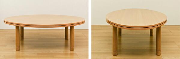 楕円形 テーブル 茶 ブラウン リビングテーブル 消臭機能付ヒーター 暖房器具 デザインこたつ - aimcube画像4