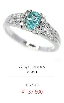 パライバトルマリン 0.506ct ダイヤモンド 0.22ct リング