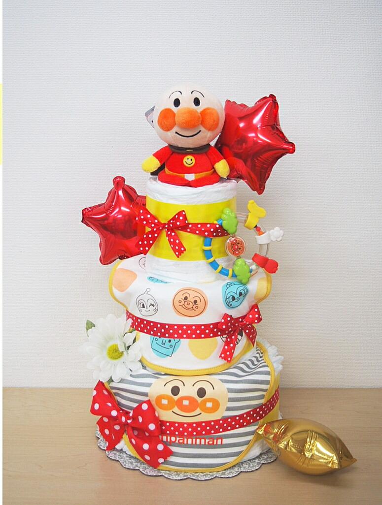 出産祝いギフトおむつケーキアンパンマンスタイ ビブ