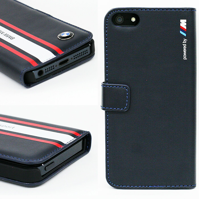 BMW・公式ライセンス品iPhone5siPhone5専用フリップケース(ブックタイプ/手帳型)[MotorsportCollection][FlapBooktypeNavyBlueforiPhone5s/5]BMFLHP5SN