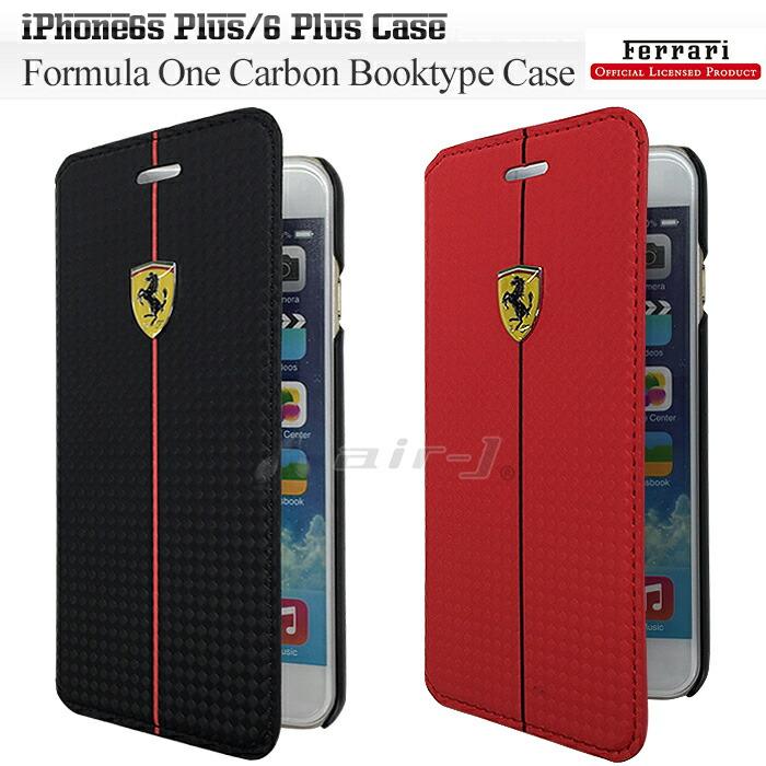 フェラーリ・公式ライセンス品 iPhone6 Plus 専用 カーボン 調 手帳 型 ブック タイプ ケース