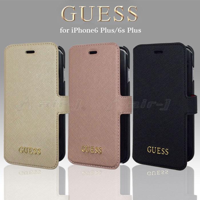 GUESS・公式ライセンス品iPhoneプラス6PUレザー手帳型ハードケース
