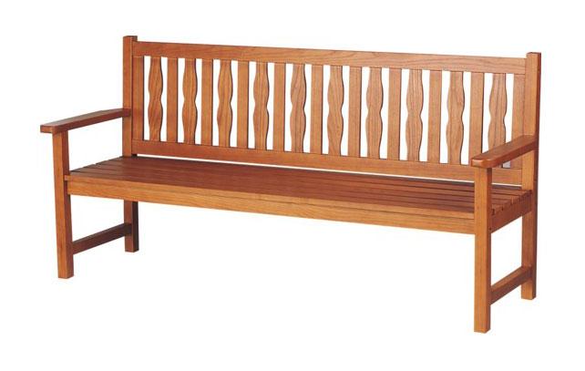 天然木を使用した屋施設に適した木製ベンチ