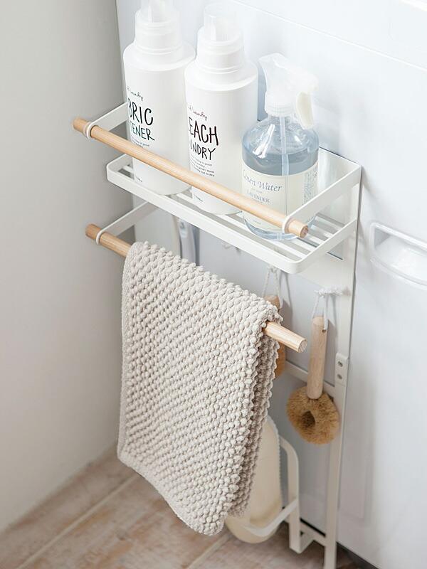 洗濯機横マグネット収納ラック トスカ ホワイト【03312】使用例