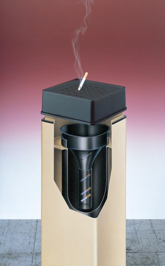 容器内の煙が外に漏れない機構になっているため、火がついたままのタバコをそのまま投入しても、煙の対流と酸欠により、タバコの火を100%消火します。