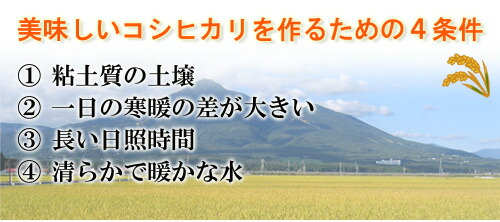 福島県産コシヒカリ・美味しいコシヒカリを作るための4条件。1粘土質の土壌。2一日の寒暖の差が大きい。3長い日照時間。4清らかで暖かな水。