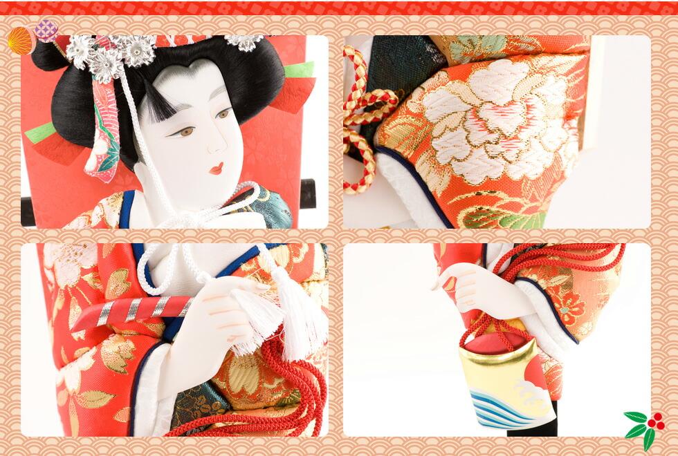 羽子板飾り 京都の人形工房の老舗 リュウコドウ(龍虎堂)の手作り羽子板 吉祥縁起 羽子板は、当初は羽突きの道具として用いられていましたが、徐々に厄払い、魔よけとして正月に女性に贈る習慣もあるとされます。歌舞伎役者などをかたどった押絵羽子板など、新年の迎春準備、お正月準備にも、厄をはね返し幸運を呼び込む縁起物として羽子板を是非お飾りください。