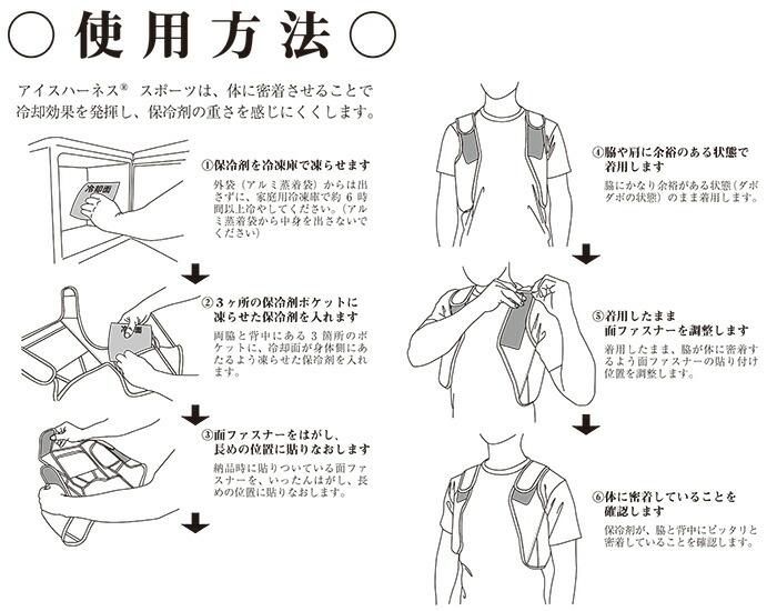 熱中症対策グッズ 冷却ベスト アイスハーネス スポーツ ジュニア 使用方法