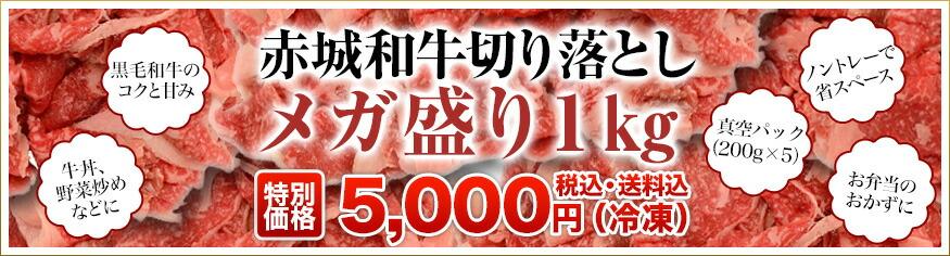 赤城和牛切り落としメガ盛り1kg(200g×5パック)