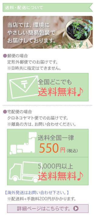 送料・配送について:当店では、環境にやさしい簡易包装でお届けしております。●郵便の場合定型外郵便でのお届けです。※日時共に指定はできません。全国どこでも送料無料♪●宅配便の場合ヤマト便またはゆうパックでのお届けです。※離島の方は、お問い合わせください。送料全国一律550円。5000円以上のお買上げの場合送料無料♪