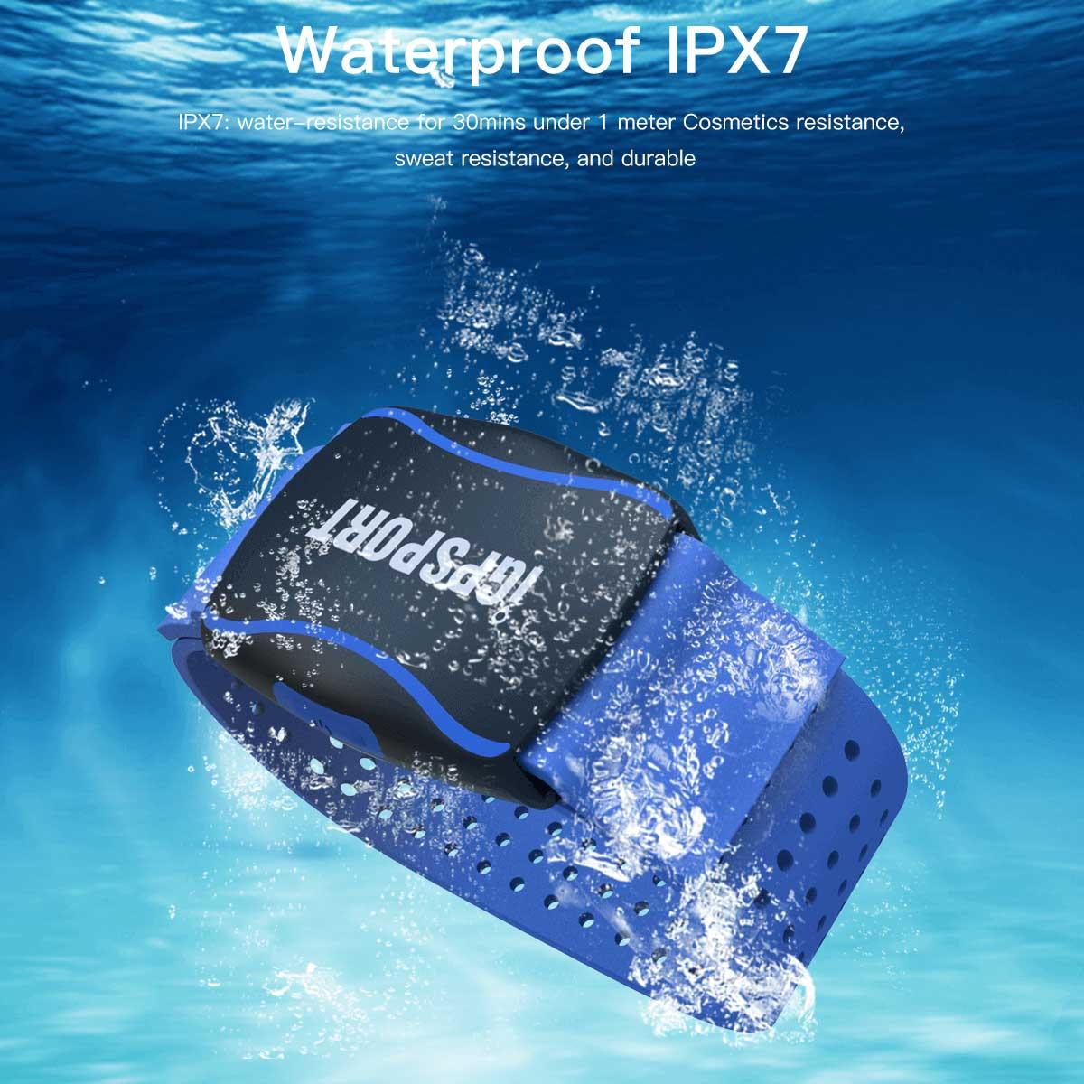 IPX7の防水設計の心拍計