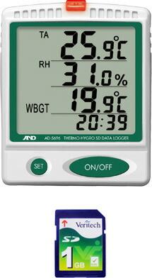 温湿度 SDデータロガー(記憶型)/熱中症指数モニター AD-5696