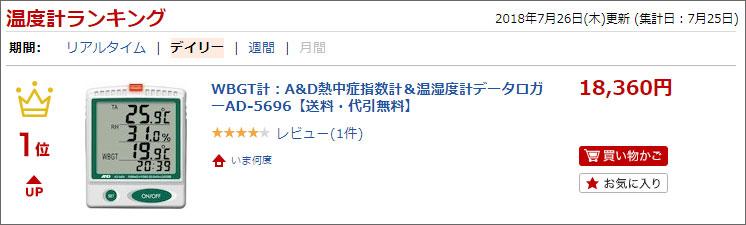 A&DのWBGT計AD-5696ランクイン