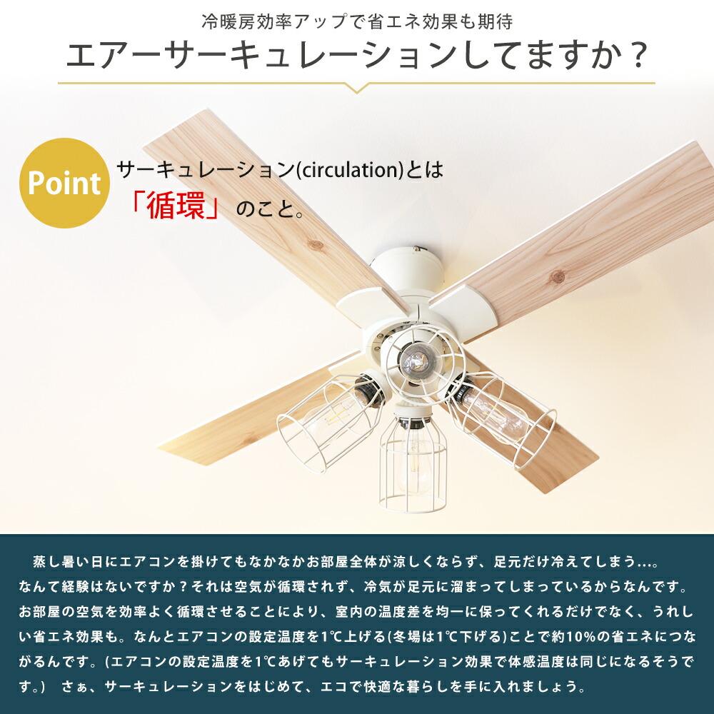 シーリングファン 空気循環