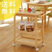 【送料無料】木製キッチンワゴン キャスター付き【コンパクト3段】