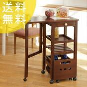 【送料無料】木製キッチンワゴン キャスターラック付き【片バタフライ】