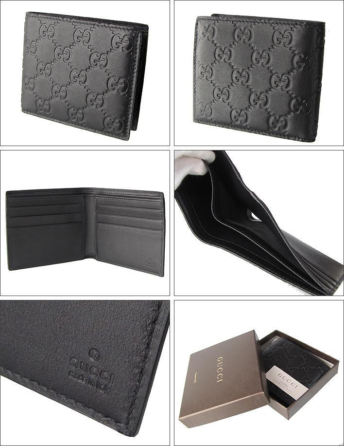 GUCCI グッチ 財布 メンズ 二つ折り財布 小銭入れナシ グッチシマ ブラック 145754 A0V1R 1000
