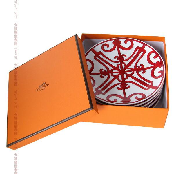 HERMES プレート セット 皿 ガダルキヴィール レッド 17cm 6枚セット 11612P0 【楽ギフ_メッセ入力】【smtb-MS】【あす楽対応】【楽ギフ_包装選択】