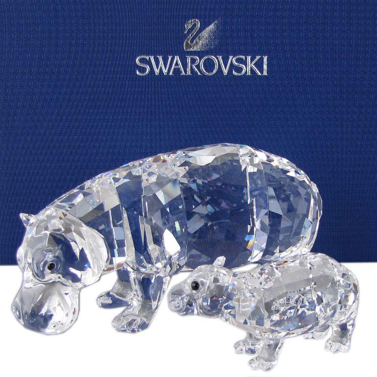 【楽天市場】スワロフスキー Swarovski フィギュリン カバの親子 Hippo Mother With