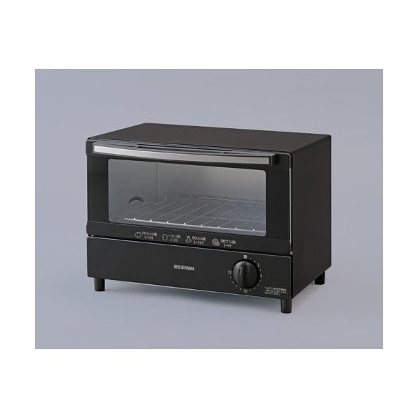 【納期約1~2週間】アイリスオーヤマ KOT-011-B オーブントースター 2枚焼き ブラック KOT011BBK