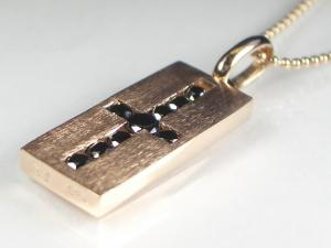K10PG/K18PGブラックダイヤ ペンダント ネックレス10P03Dec16